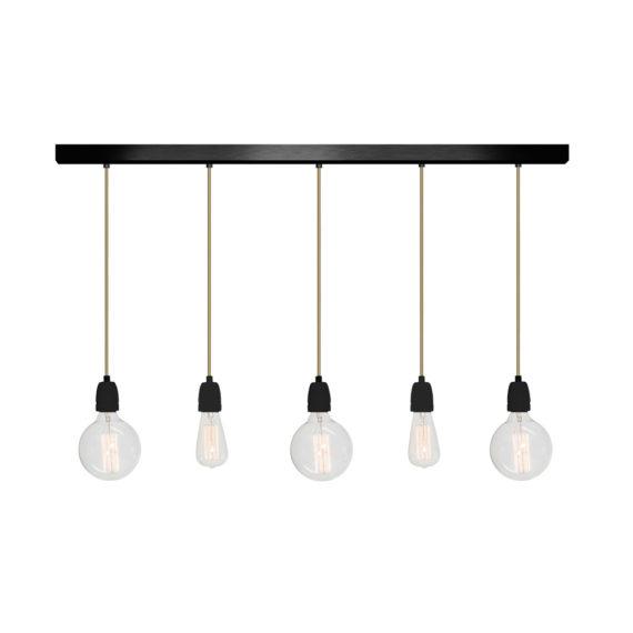 No.12 Hanglamp balk 5 lichts ZWART