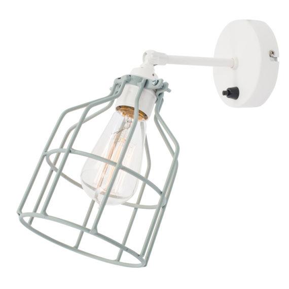 No.15 Wandlamp wit met grijs-groene kooi