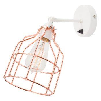 No.15 Wandlamp wit met koperen kooi
