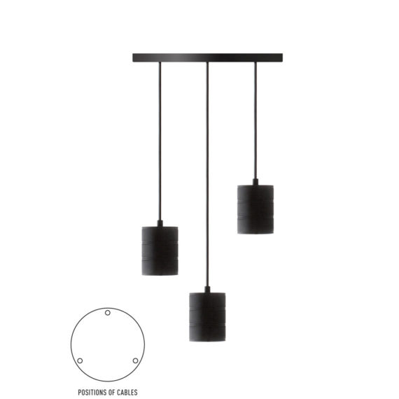 Pendel 3 lichts 200cm zwart/zwart E40 965250